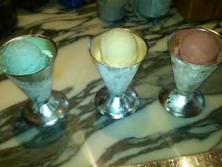 BDT Peppermint Ice Cream, Pear Sorbet & Pomegranate Sorbet