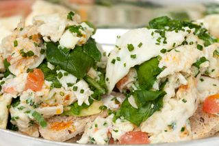 Jumbo Lump Maryland Crab, Scrambled Egg Whites, Tomato, Spinach, Avocado, Cream Cheese, Multigrain Bread